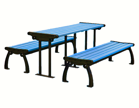 Heritage Style Recycled Plastic Picnic Table And Benches - Plastic bench that turns into a picnic table