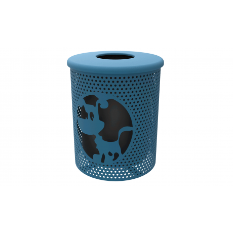 Rivendale Dog Themed Trash Receptacle with Flattop and Liner