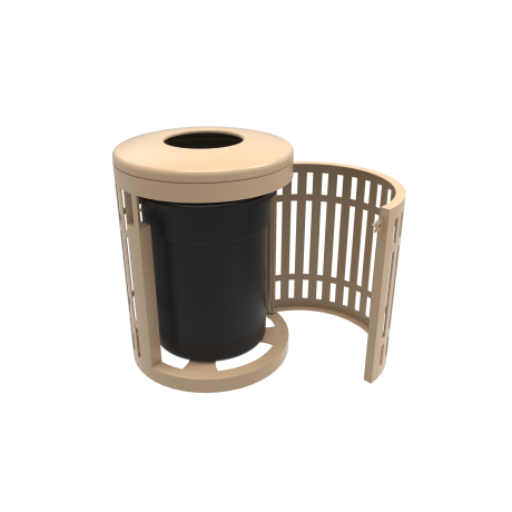 32 Gallon Downtown Trash Receptacle with Flattop and Side Opening