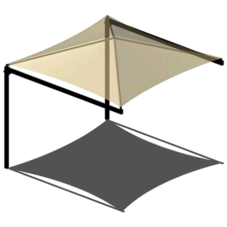 Single Post Cantilever Pyramid 12EH x 8' Shade Structure