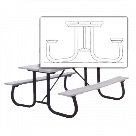 6' Galvanized Table Frame For Shenandoah Picnic Table (No Top of Benches)
