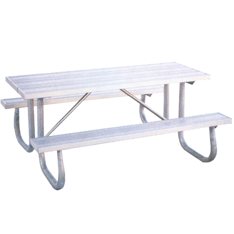 6' St. James Picnic Table with Aluminum Plank Top And Benches