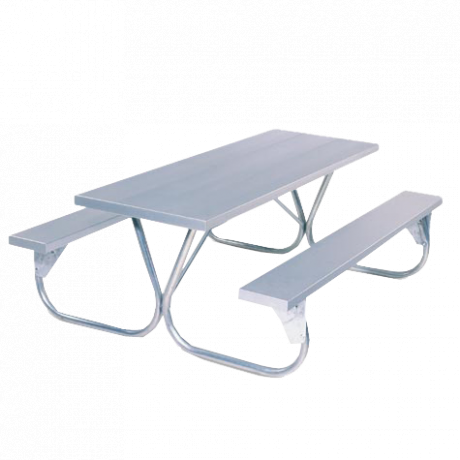 6' Pocono Picnic Table with Aluminum Plank Top And Benches