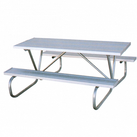 6' Cascade Picnic Table with Aluminum Plank Top And Benches