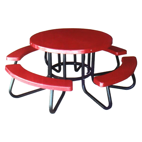 Round Table with Fiberglass Top And Benches