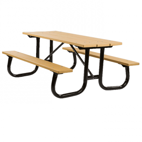 Shenandoah Welded Frame Picnic Table with Recycled Plastic Plank Top and Benches