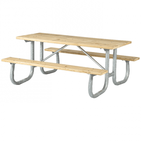 Shenandoah Welded Frame Picnic Table with Treated Southern Yellow Pine Wood Plank Top and Benches