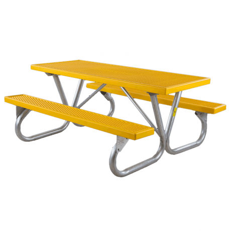 Pocono Bolted Frame Picnic Table with Plastisol Coated Top and Benches