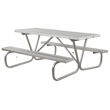 Cascade Bolted Frame Picnic Table with Aluminum Plank Top and Benches