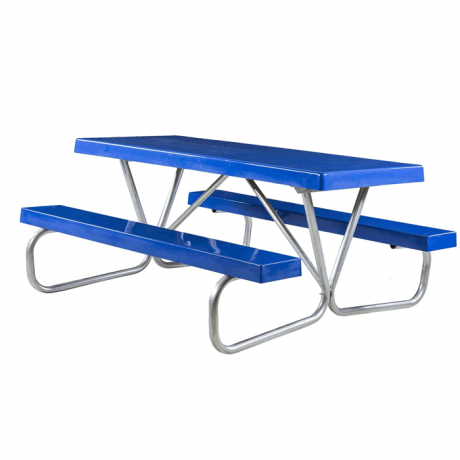 Cascade Bolted Frame Picnic Table with Fiberglass Plank Top and Benches