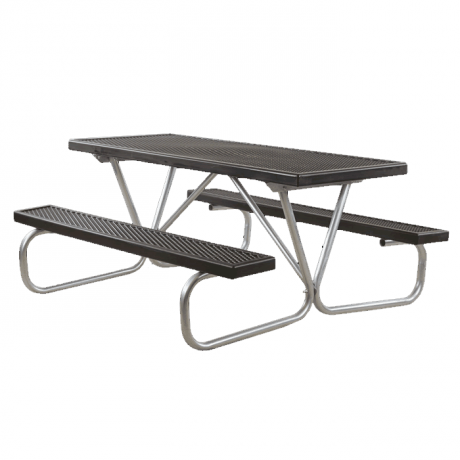 Cascade Bolted Frame Picnic Table with Plastisol Coated Top and Benches