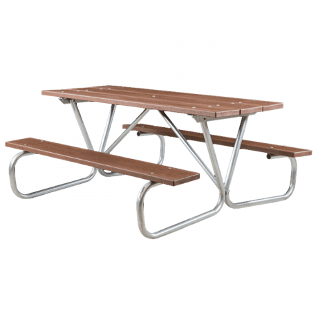 Cascade Bolted Frame Picnic Table with Recycled Plastic Plank Top and Benches