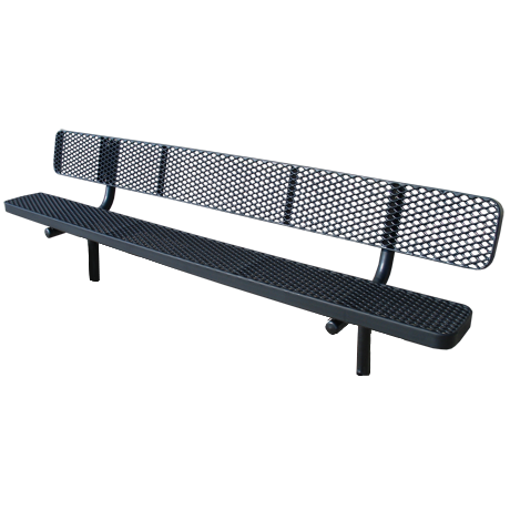 8' Champion Expanded Metal Bench With Back