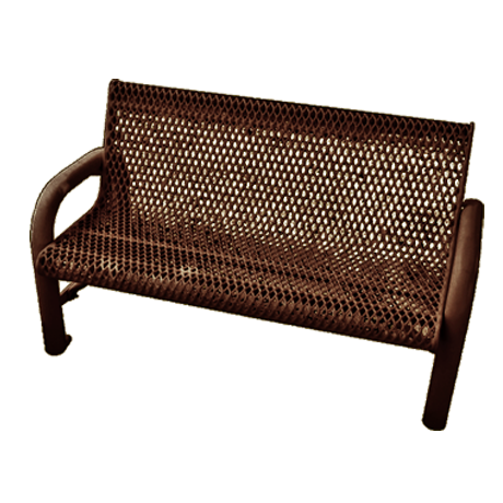 Grand Contour Expanded Metal Bench With Back