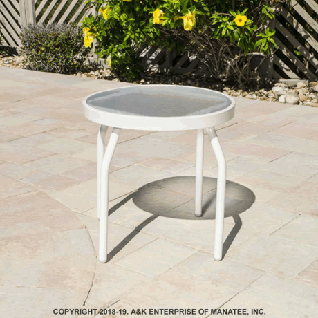 """Acrylic Top 18"""" Round Patio Side Table with Straight Round Tube Legs"""