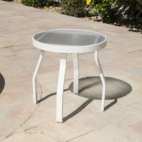 """Acrylic Top 18"""" Round Side Table with Angled Flat Tube Legs"""
