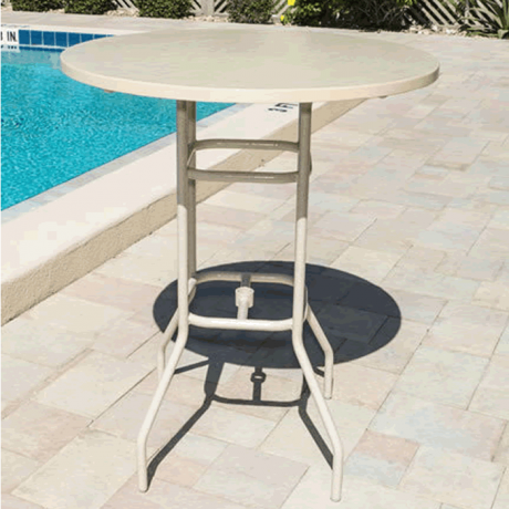 """36"""" Round Fiberglass Top Bar Height Table with Round Tube Legs"""