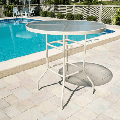 """36"""" Round Acrylic Top Bar Height Table with Round Tube Legs"""