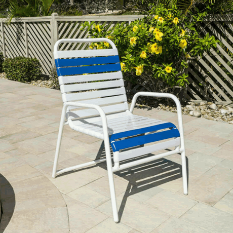 Aruba Single Strap Dining Chair with Round Aluminum Frame