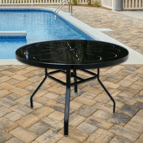 """42"""" Round Punch Metal Top Dining Height Table with Flat Tube Legs and Umbrella Hole"""