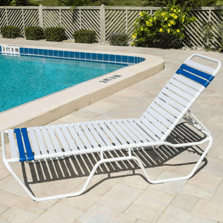 Aruba Single Strap Chaise Lounge with Round Aluminum Frame with Nylon Super Glides - 14 Inch