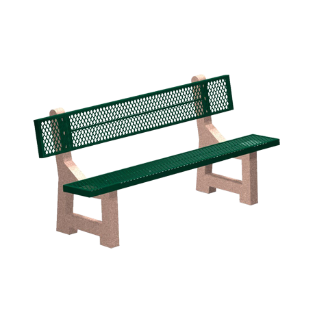 Lakeside Concrete Bench with Plastisol Seat and Back