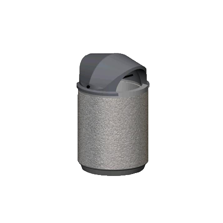 Round Concrete Trash Container with Plastic Hood Top