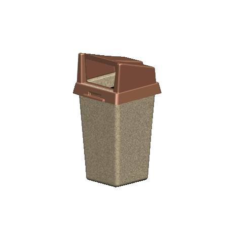 Square Concrete Trash Container with Rigid Plastic Bonnet Top