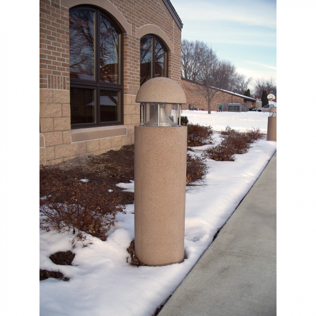 Cylindrical Concrete Bollard with Dome Top and Light