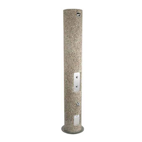 Round Aggregate Pedestal Outdoor Body Shower, Footwash, and ADA Shower