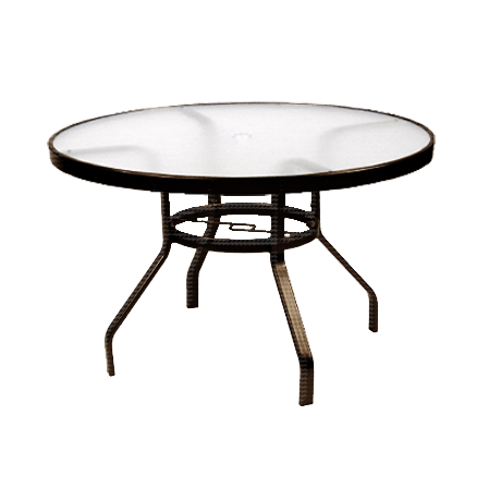 "48"" Round Acrylic Top Dining Table with Umbrella Hole"