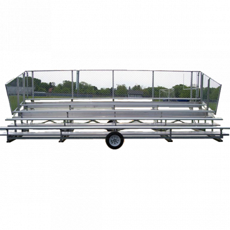 5 Row Transportable Preferred Bleacher With Chainlink Guardrail And Aluminum Frame