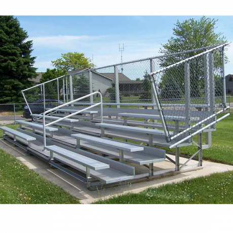 5 Row Transportable Deluxe Bleachers With Chainlink Guardrail And Aluminum Frame