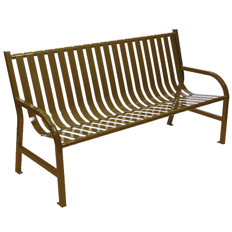 Oakley Collection Slatted Metal Bench With Back