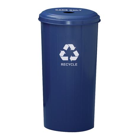 """Tall Round Recycling Wastebasket and Top With 4"""" Round Opening"""