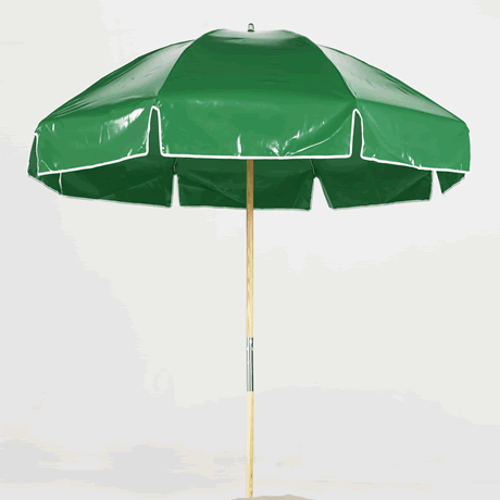 Emerald Coast 7.5' Octagon Steel Beach Umbrella with Vinyl Top and Wood Pole
