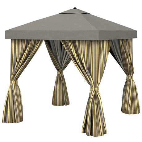 Basta Sole Square Cabana with Fabric Curtains