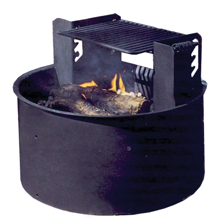 Wheelchair Accessible Fire Ring with Adjustable 4-Position Cooking Grate