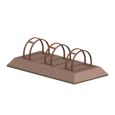 Multi-Slot Concrete Bike Rack with Rolled Bars