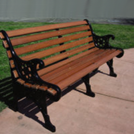 Vintage Park Benches with Cast Aluminum Arms and Oak Slats