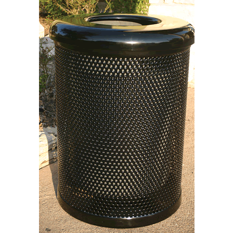 32 Gallon Lexington Trash Receptacle, Punched Steel, Advanced New Coating