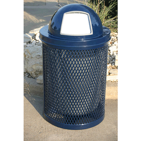 32 Gallon Rivendale Trash Receptacle, Expanded Metal, Standard Thermoplastic Coating