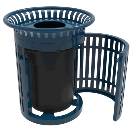 Lexington Skyline Trash Receptacle with Flared Top, Side Opening, Plastic Lid and Liner