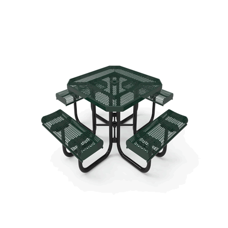 """46"""" Lexington Octagon Portable Table With Rolled Edges, Expanded Metal, Advanced DuraLex Coating"""