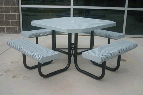 """46"""" Lexington Octagon Portable Table With Rolled Edges, Punched Steel, Advanced DuraLex Coating"""