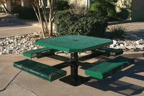 """46"""" Lexington Octagon Pedestal Table With Rolled Seats, Punched Steel, Inground Mount, Advanced DuraLex Coating"""