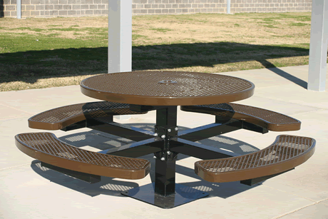 "46"" Lexington Round Pedestal Table, Punched Steel, Inground Mount, Advanced DuraLex Coating"