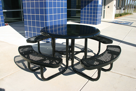 """46"""" Lexington Round Solid Top Portable Table, Expanded Metal, Advanced DuraLex Coating"""