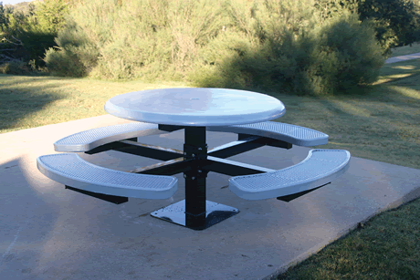 "46"" Lexington Round Pedestal Table, Solid Top, Expanded Metal Seats, Inground Mount, Advanced DuraLex Coating"