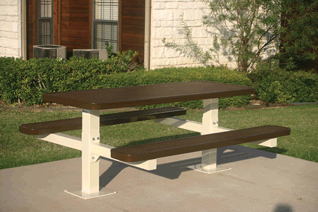 6' Lexington Double Pedestal Table, Punched Steel, Inground Mount, Advanced DuraLex Coating